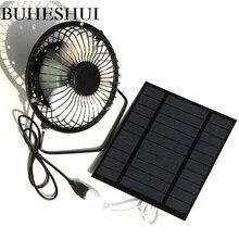 BUHESHUI ventilador de ventilación de refrigeración de 4 pulgadas, ventilador de hierro con Panel Solar, USB 2,5 W 5V, para el hogar, la Oficina, al aire libre, viajar y pescar