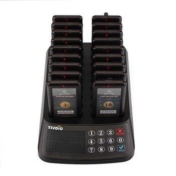 TIVDIO Беспроводной подкачки очереди системы Ресторан 99 канала 18 Coaster пейджер приемник + 1 клавиатура передатчик гостевой вызов F9406A