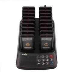 TIVDIO Wireless Paging Queuing System Restaurant 99 Channel 18 Coaster Pager Receiver+1 Keypad Transmitter Guest Calling F9406A