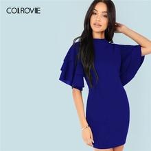 COLROVIE Blue Stand Collar Tiered Ruffle Sleeve Bodycon Elegant Dress Women  2019 Summer OL Vestidos Female 75d046171a57
