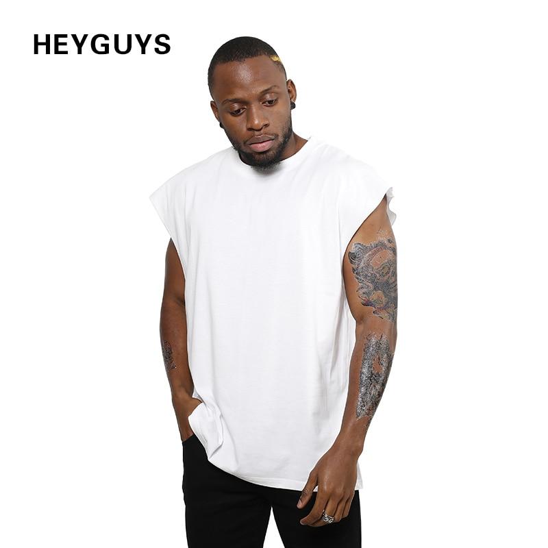 2018 HEYGUYS nuovo disegno sleeveness moda hip hop pianura più corta  maglietta del manicotto degli uomini di marca t shirt senza maniche over  size uomini in ... e19a26da5d1