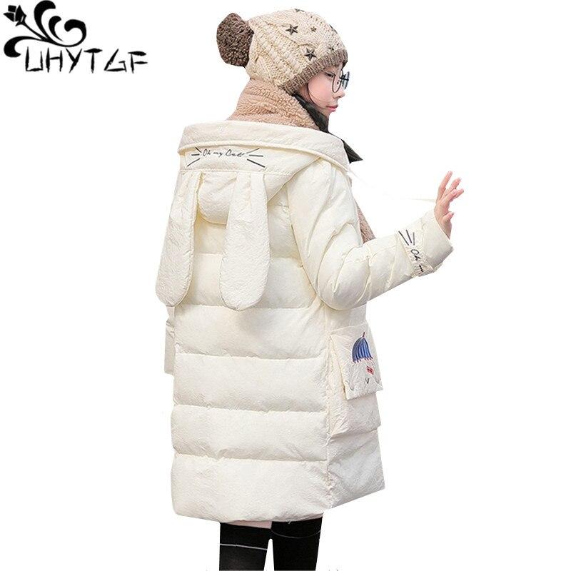 UHYTGF New Winter Down Jacket Slim Warm long Outerwear luxury   parka   Women's Thicken Rabbit ears Hooded Cotton Coat plus size1017