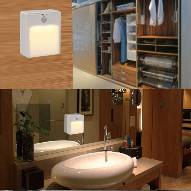 Body Montion Sensor LED Night Light AA Battery Lamp Cabinet Toilet ...