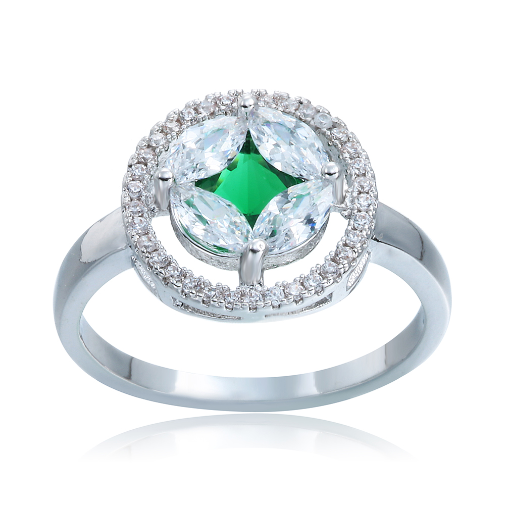 Doulaimei Real 925 Sterling Silver Extravagant Cz Crystal Green Stone  Lover's Wedding Bridal Fine Women Ring