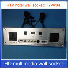 Conector de pared  HD HDMI  VGA USB red RJ45 información de vídeo/salida Multimedia Home Hotel habitaciones KTV pared TY-W04
