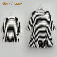Bear Leader 2015 New Style Family Matching Outfits Mother And Daughter Fall Full Balck Striped Dress