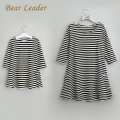 Bear Leader 2017 New Spring&Autumn Style Family Matching Outfits Mother And Daughter Fall Full Balck Striped Dress Free Shipping