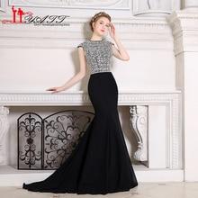 Liyatt New Fashion Black Long Mermaid Prom Dresses 2017 Robe de Soiree Full Crystals Beaded Corset