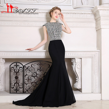 Luxurious Swarovski Crystal Mermaid Long Evening Dresses 2017 Jewel Neckline Black Pageant Prom Gowns Formal Evening