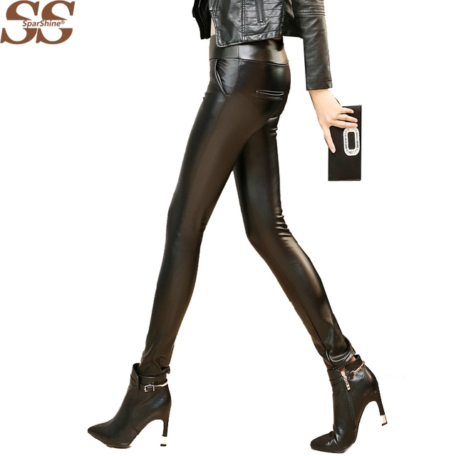 2017 Fashion Sexy Style Pants High Elastic Faux PU Leather Leggings Soild Black Leather Leggings/Pants Hot Selling