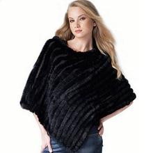 On Sale Fashion Women's Genuine Rabbit Fur Knitted Cape Shawl Poncho Coat Jacket