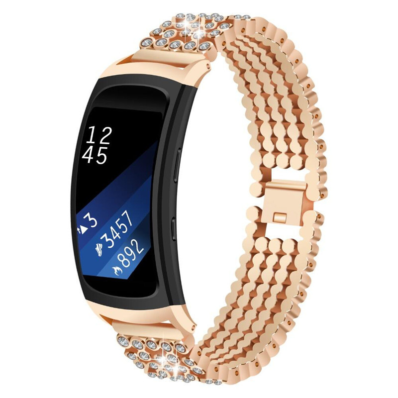 ASHEI Metal Bracelet For Samsung Gear Fit 2 Pro Band Stainless Steel Rhinestone Diamond Strap For Samsung Gear Fit2 SM-360 Bands usb charger dock charging cradle for samsung gear fit2 pro sm r360 smart watch cable cord charge base station for fit 2 sm r360