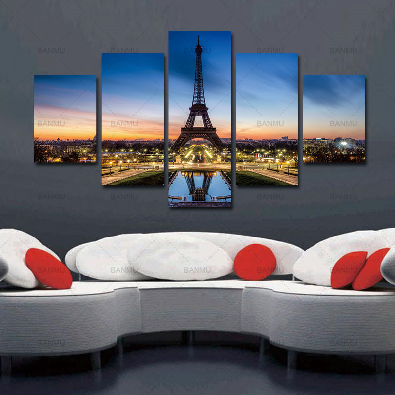 No Frame Painting Canvas Picture Paris Turnul Eiffel Pictura Picturi pe perete Pagina de decorare Pictura modulară pe perete