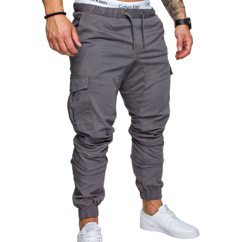 New 2018 Casual Joggers Solid Color Pants Men Cotton Elastic Long Trousers pantalon homme Military Army Cargo Pants Men Leggings 1