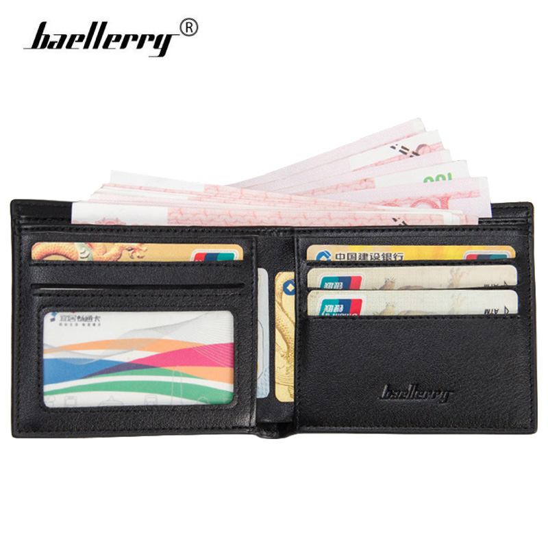 Baellerry Wallet for Men Leather Small Wallet Mens Wallets Male Short Walet Man Thin Credit Card Purse Business Slim Money Bags fashion mens wallets 2015 us dollar bill wallet brown pu leather wallet purse for man bifold credit card photo male money bags