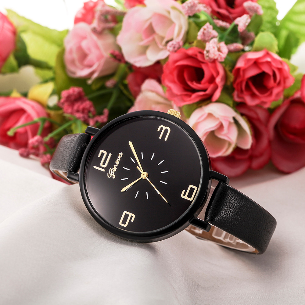 Fashion And Casual Relogio Feminino Faux Leather Quartz Analog Wrist Watch Women Horloges Simple Round Digital Dial Clock B40