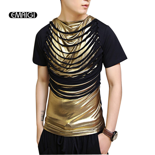 Male Stage Costumes Mens Black Gold Splice Short Sleeve T shirt ...