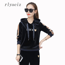 58a0b0d2d47e RLYAEIZ 2017 Autumn Casual Gold Velvet Sportswear Women s Sporting Suits  Embroidery Striped Hooded Hoodies + Pants