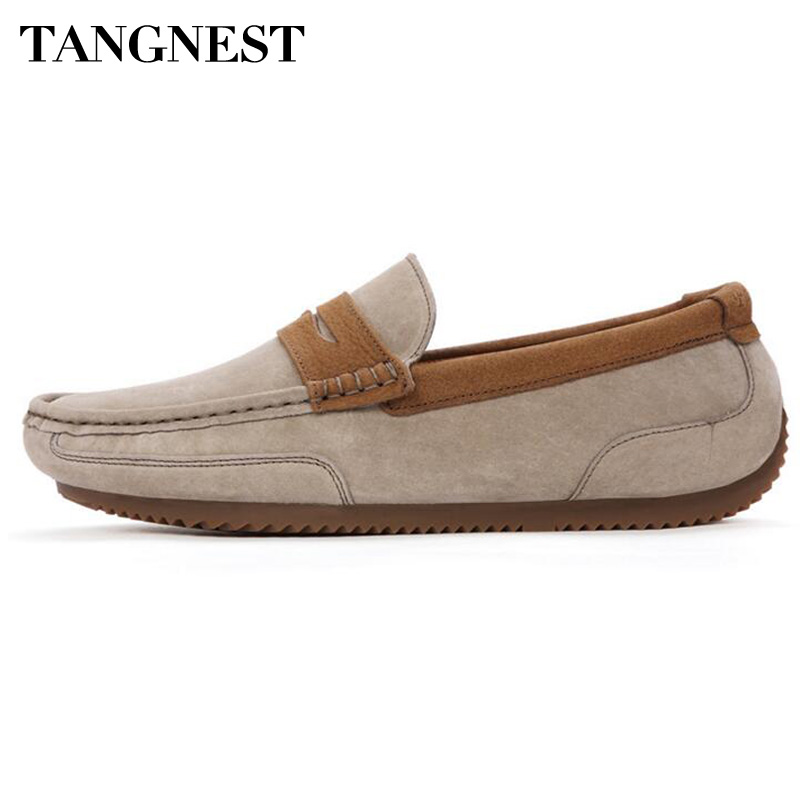 Tangnest Brand Men Suede Leather Loafers New 2017 British Style Men's Flats Man Comfortable Driving Shoes Man Moccasins XMR2522 1