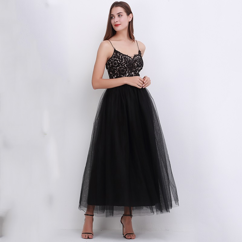 4Layers 2018 Spring Summer Vintage Skirts Womens Elastic High Waist Tulle Mesh Skirt Long Pleated Tutu Skirt Female Jupe Longue
