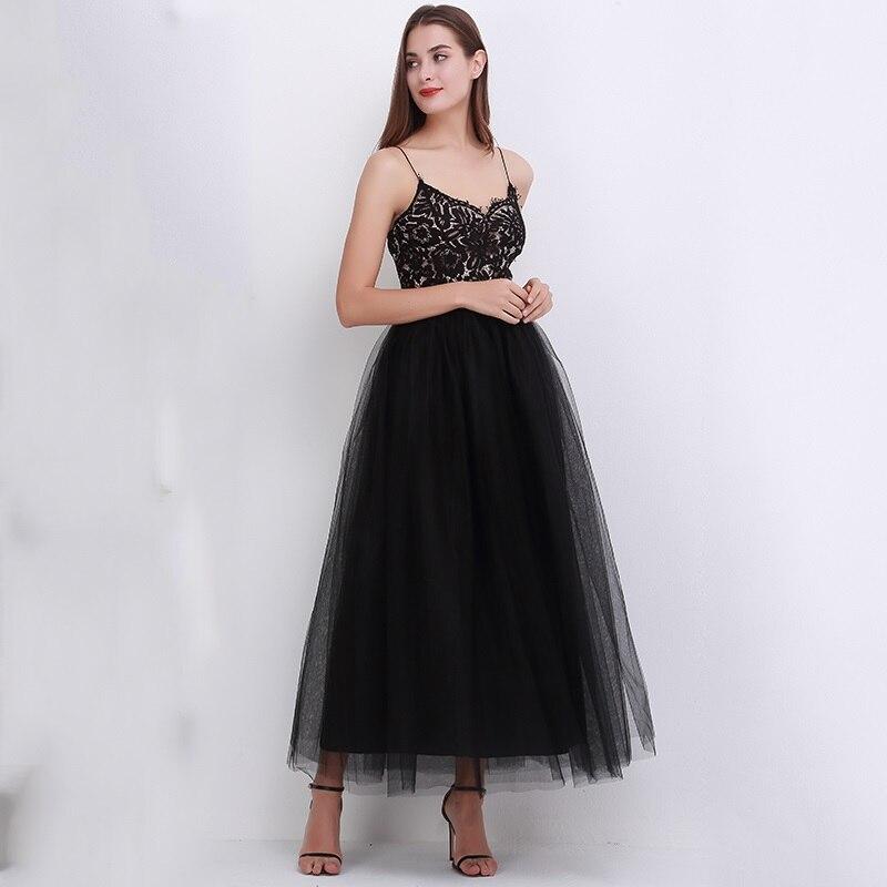 4Layers 2018 Ανοιξιάτικες καλοκαιρινές φούστες Γυναικεία Ελαστική Υψηλή Μέση Τούλη Πλεξούδα Πλεξίματος Μακρόστενη Φούστα Tutu Γυναικείο Jupe Longue