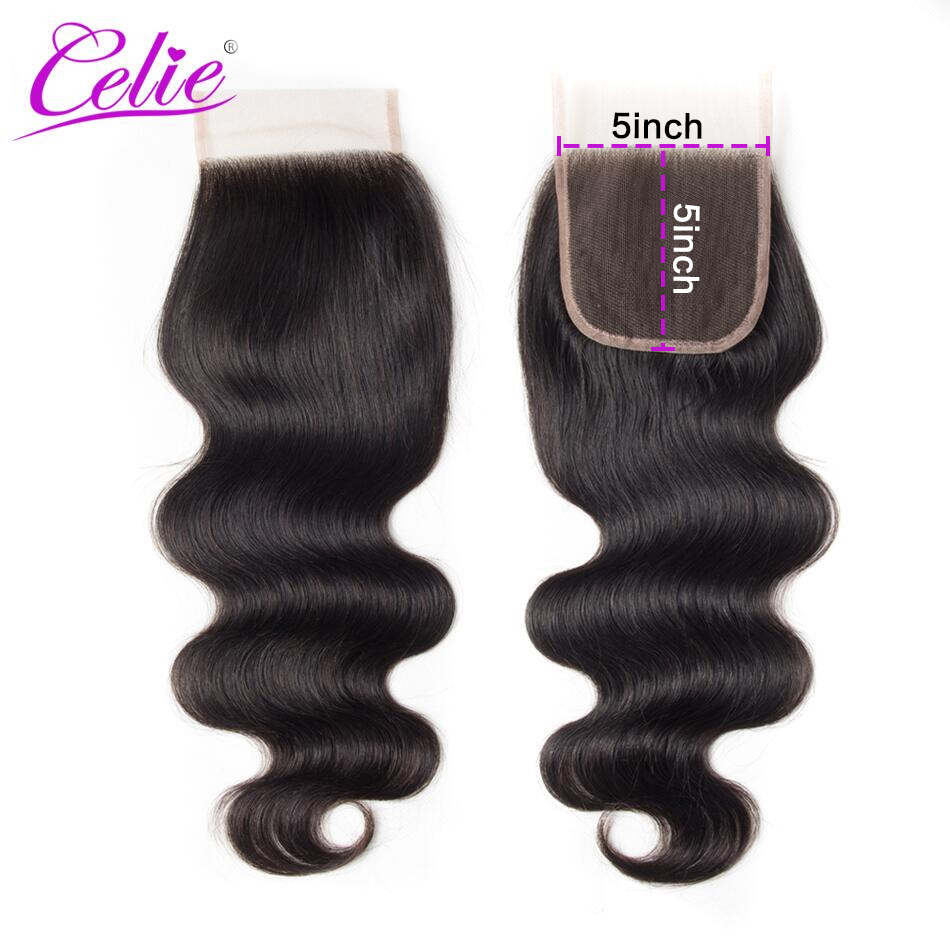 Celie Hair 150% 5x5 Lace Closure Body Wave Free/ Middle Part 100% Brazilian Human Hair Closure Remy Natural Black Color Hair