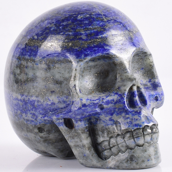 3inch lapis lazuli refinement Skull figurine natural stone mineral Carved Realistic statue healing Home Ornament art collectible