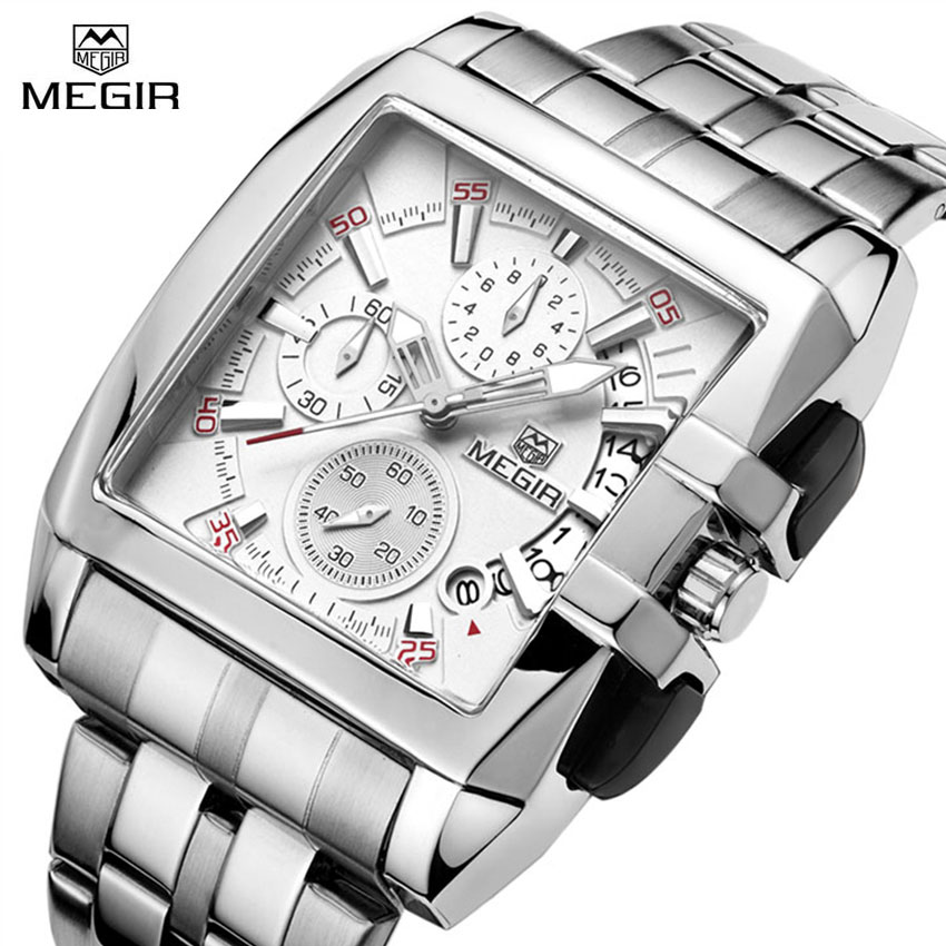 MEGIR Watch Luxury Quartz Men Wristwatch Stainless Steel Strap Band Hour Time Clock Casual Male Man Sport Army Military Watches golden silver transparent hollow dial quartz men wrist watch stainless steel band casual sport watches man analog male clock gif page 9