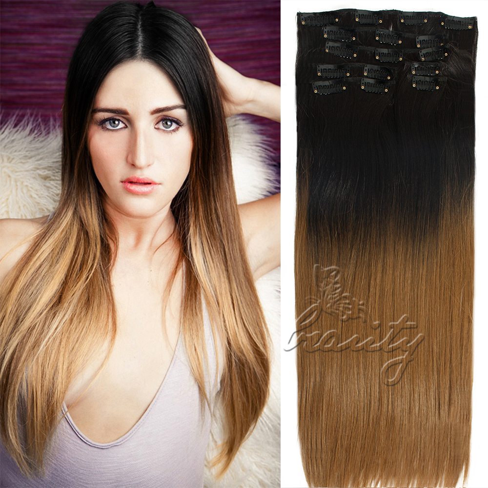 24 In 16 Clips Straight Hairpiece 7pcs Clip In Dip Dye Ombre Hair