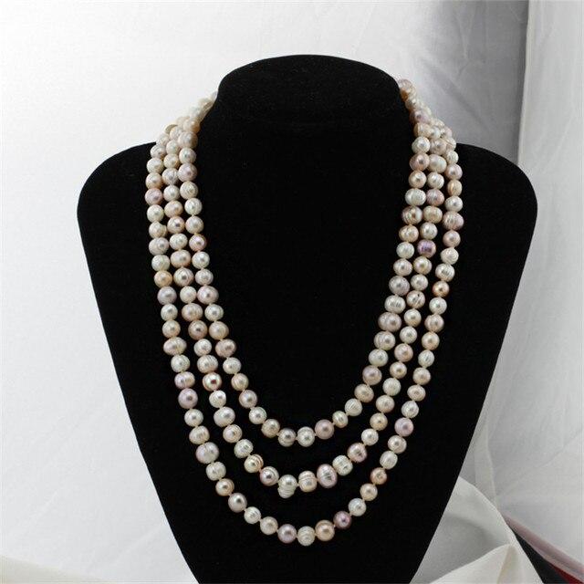 160 см 8 мм возле круглого белый/смешанный цвет новый настоящее пресной воды жемчужное ожерелье подлинная природный жемчуг женщины ювелирные изделия бесплатная доставка