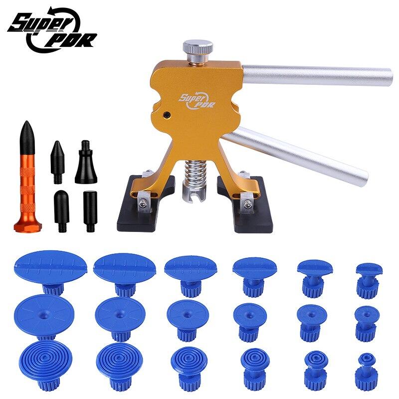 PDR инструменты Золотой Дент Lifter 18 PDR puller tabs 5 насадок Нажмите Вниз ручка для автомобилей Дент удаления Paintless Дент ремонт