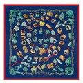 2017 Fashion Elegant Chain ring scarf paisley bandana outdoor motorcycle scarf 100% silk winter-poncho spain blue white shawls