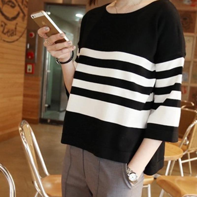 2017 primavera verano media manga de la camisa de punto las mujeres suéter camis