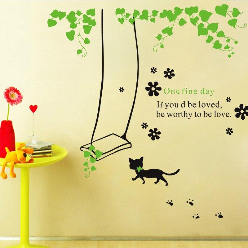 Verwijderbare diy versieren kinderkamer cartoon een fijne dag muursticker voor tv sofa - Versieren kinderkamer ...