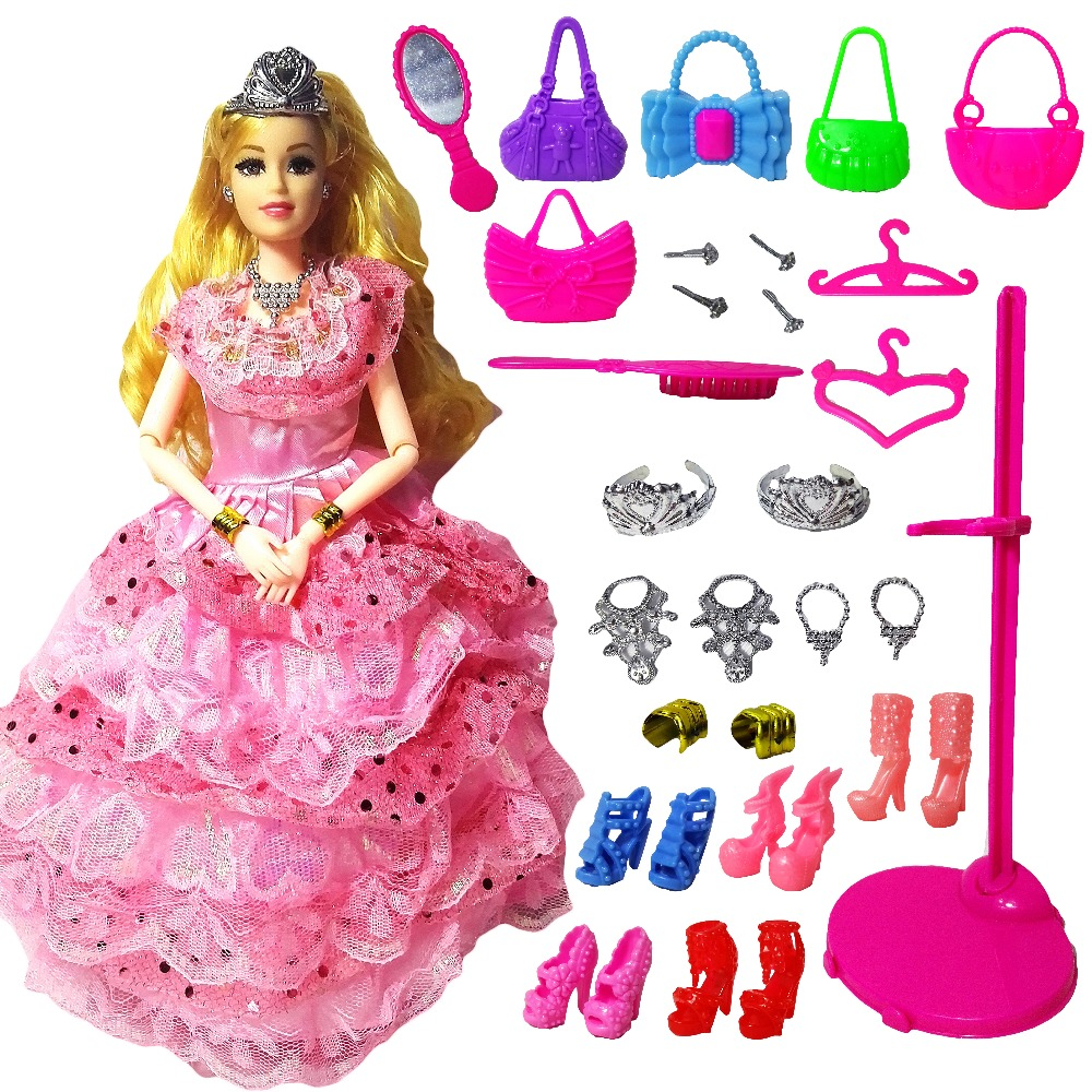 New Fashion Doll Partai Wedding Dress Barbie Dolls Gaya Baru Moveable - Boneka dan aksesoris - Foto 6