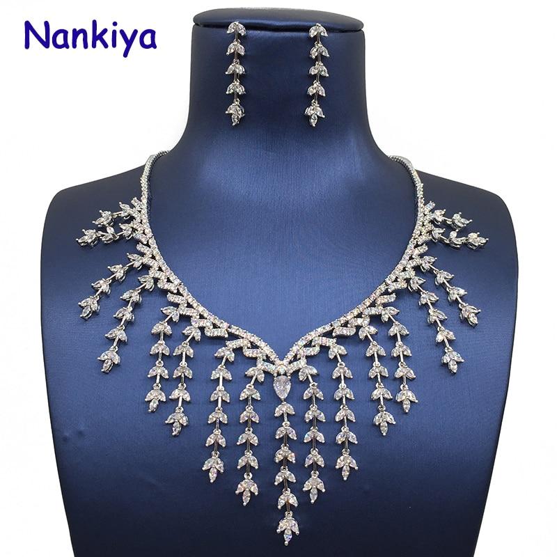 Nankiya New Top Gorgeous Luxury Set Jewelry Willow Osier Tassel Design AAA CZ Crystal Bridal Jewelry