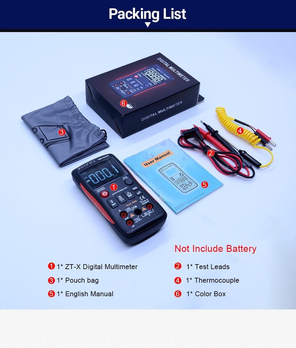 Zoyi Zt X Digital Multimeter 9999 Counts Ac Dc Voltmeter Ammeter Test Car Fuse Box Button Design 12