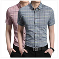2016 Men's Korean fashion casual short-sleeved plaid shirt Slim cotton shirt male tide Business Size M-5XL