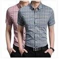 2016 dos homens Coreano moda casual-manga curta camisa xadrez camisa de algodão Fino masculino Negócio maré Tamanho M-5XL