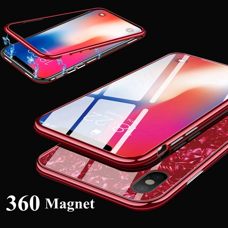 360 Magnetic Case For iphone XS Max XR iphone 8 7plus XS Shell Glass Case Cover For iphone 6s 6 s 7 8 plus iphone XR X 10 Cases