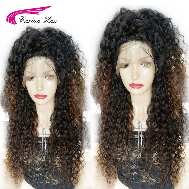 Carina Ombre Color Lace Front Human Hair Wigs with Baby Hair Brazilian Kinky Curly Remy Hair Wigs with Pre-Plucked Hairline ...