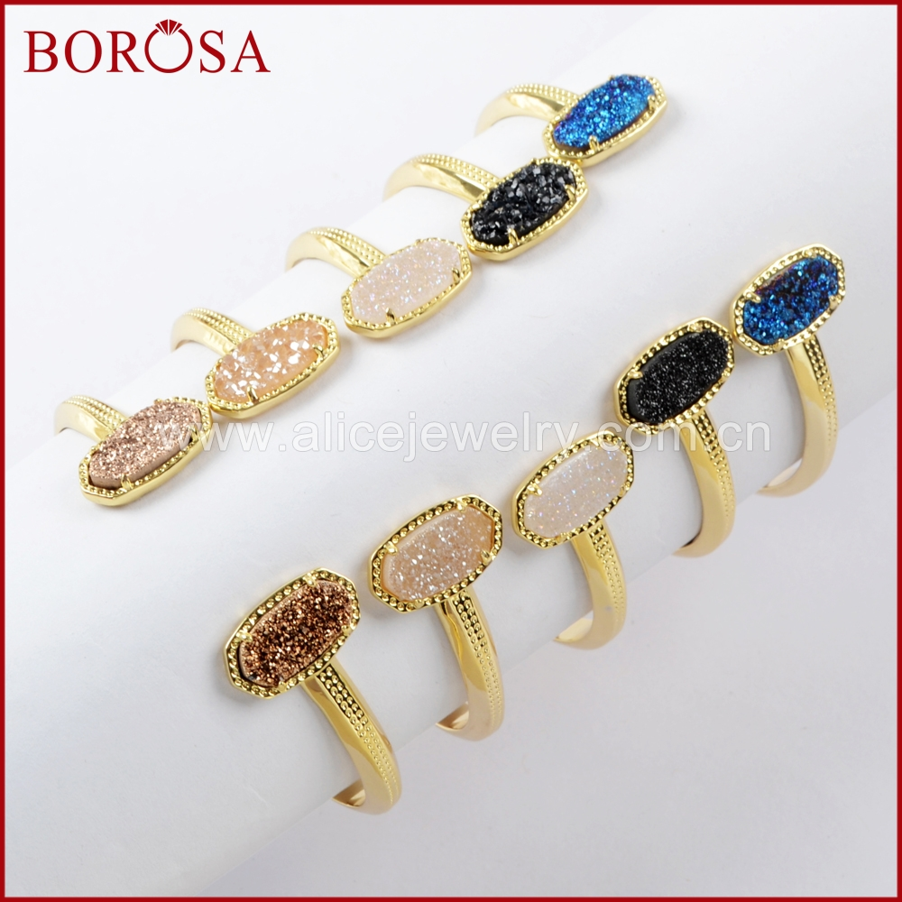 BOROSA 5PCS Gold Color Claw Hexagon Double Rainbow Titanium Druzy Open Bangle Mix Colors Drusy Bracelet
