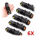 6PCS/lot Mini LED Torch 7W 1200LM CREE Q5 LED Flashlight Adjustable Focus Zoom Flash Light Lamp Free Shipping Wholesale