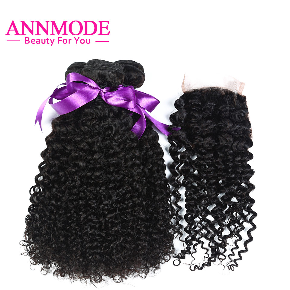 Annmode Hair Kinky Curly Bundles With Closure Malaysian Human Hair Weave 3 Bundles With Closure Non Remy Hair Extensions