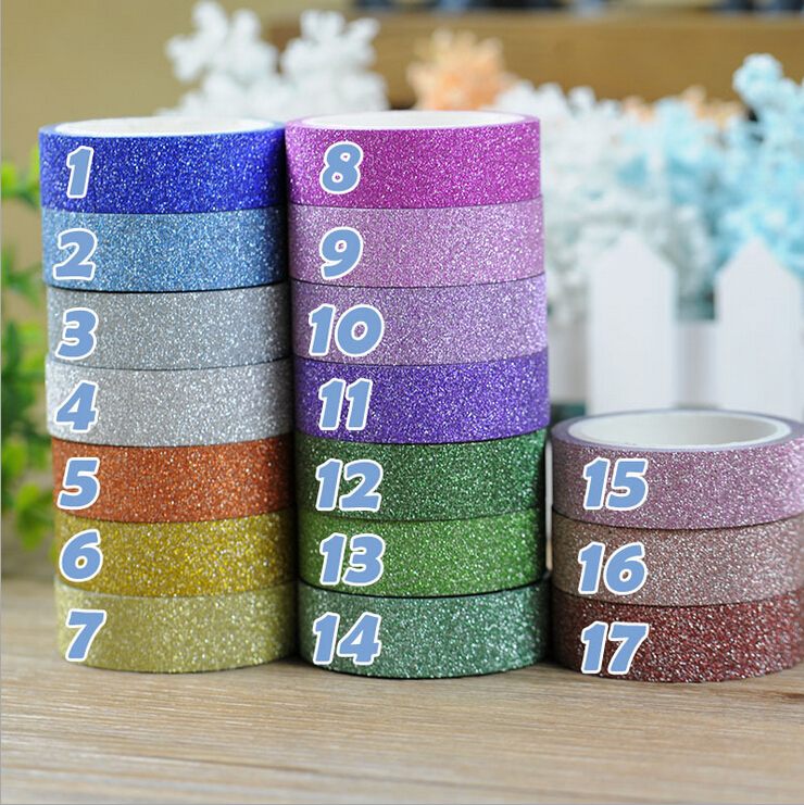 17 colors hot sales 3m glitter washi sticky paper masking for Sticky paper for crafts