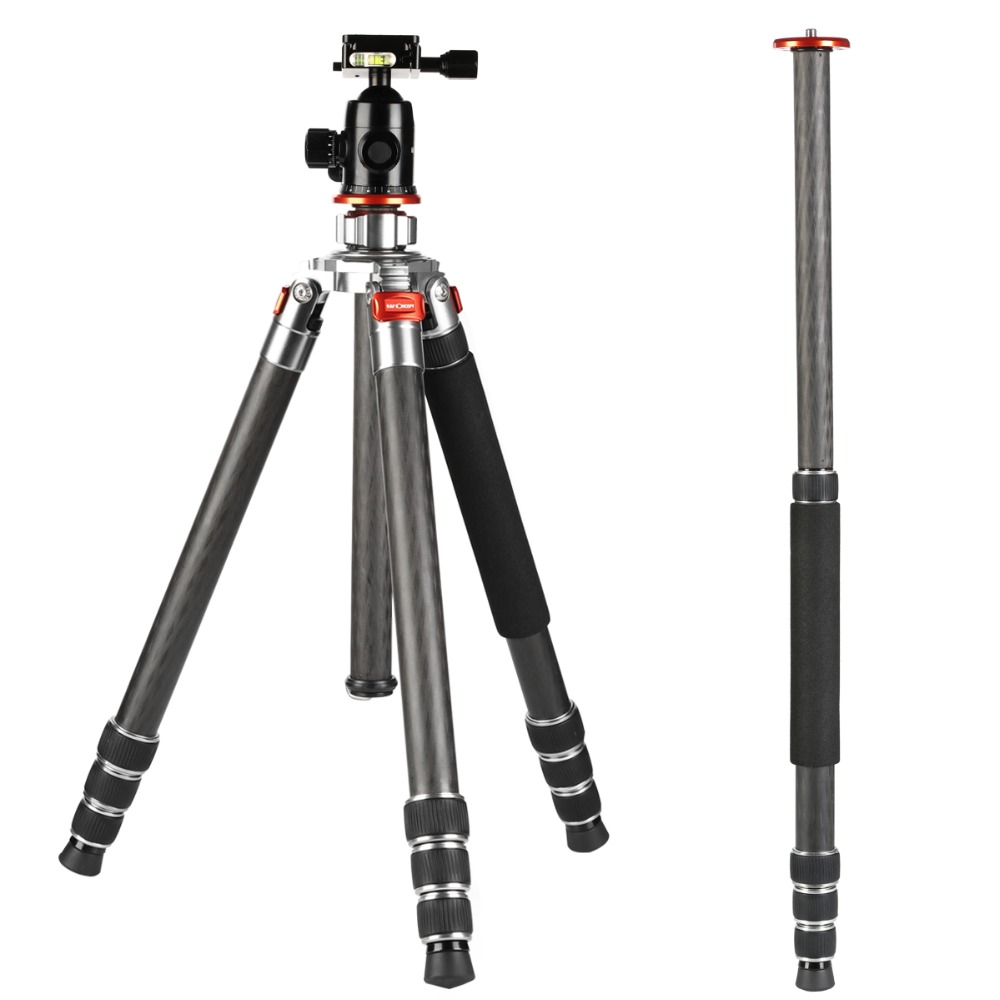 K&F Concept Professional TC3134 8X Carbon Fiber Camera Tripod Monopod Portable Compact Travel for DSLR Cameras Canon Nikon sony dhl free 2017 new professional tripod qzsd q999 aluminium alloy camera video tripod monopod for canon nikon sony dslr cameras