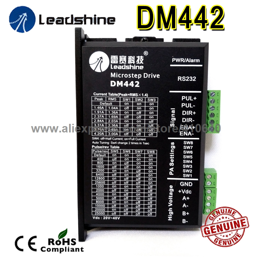 Leadshine <font><b>DM442</b></font> 2 Phase 32 Bit DSP Digital Stepper Drive with Max 40 V DC Input Voltage and Max 4.2 Output Current image