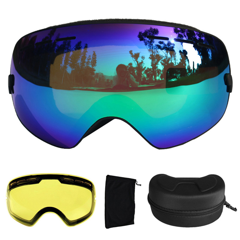 Ski Goggles UV400 Ski Glasses Double Lens Anti-fog Skiing Snowboard Goggles Ski Eyewear With a Box and a Extra Lens polisi winter snowboard snow goggles men women double layer large spheral lens skiing glasses uv400 ski skateboard eyewear
