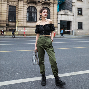 Image 4 - Vangull High waist pants New loose joggers women army harem camo pants streetwear punk black cargo pants women capris trousers