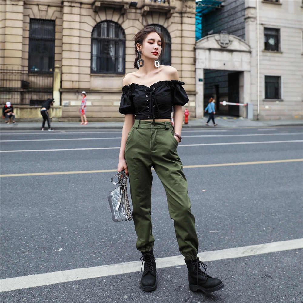Vangull Hoge taille broek Nieuwe losse joggers vrouwen leger harem camo broek streetwear punk zwart cargo broek vrouwen capri broek